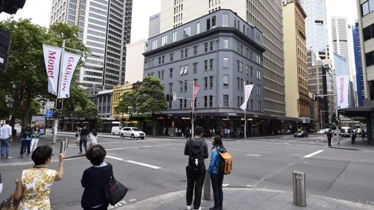 The building on the corner of Castlereagh and Park streets will be demolished for the new Pitt Street station.