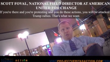 Scott Foval is seen in a shot from the video by Project Veritas,  a conservative group that has been criticised in the past for deceptive editing.