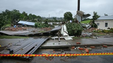 Dungog Road, near the intersection of Hooke St and near the Myall Creek, where four homes were washed away in flood waters.