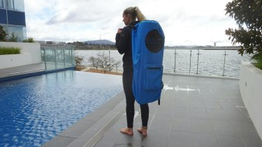The deflated Salti floats fit into a backpack.