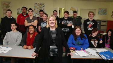 Nurse and teen health expert Sam Read with her sex education class in Melbourne's western suburbs.