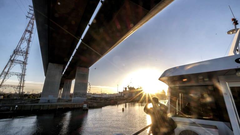 Commuters enjoyed a speculator sunrise over Melbourne.