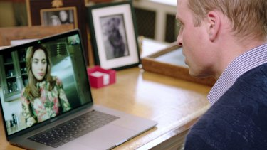 Prince William speaks to Lady Gaga via FaceTime.