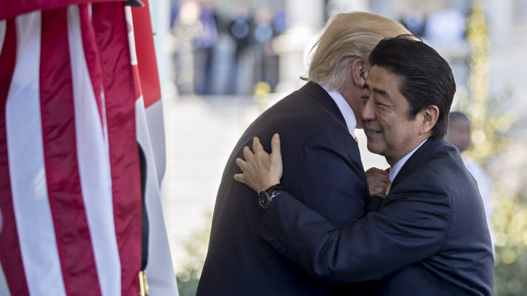 Warm welcome: US President Donald Trump,and Japanese Prime Minister Shinzo Abe.