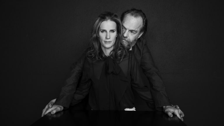 """Rachel Griffiths and Hugo Weaving. """"I'd work with Hugo on anything, anywhere,"""" she says."""