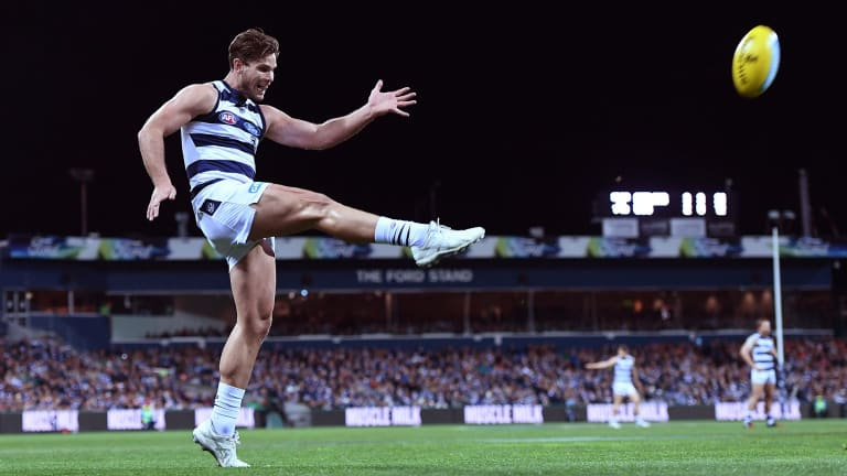 Snappy Tom: Key forward Hawkins was back to his best for the Cats against GWS in round 23.