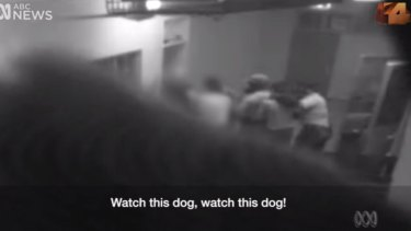 Footage showing officers inside the Don Dale detention centre.