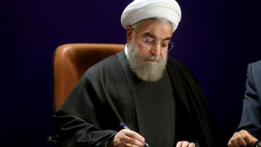 Thanked by his people for the deal: Iranian President Hassan Rouhani in Tehran last week.