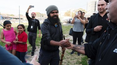 Clinton Pryor, a Wajuk, Balardung, Kija and a Yulparitja man from Western Australia, arrives in Redfern after walking across the country.