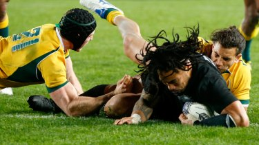 Unstoppable: The returning Ma'a Nonu goes in to score.