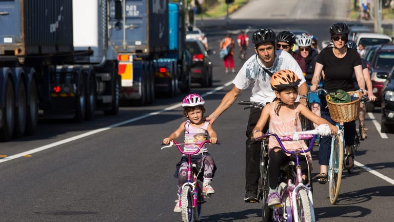 Cyclists participate in a ride in memory of Melbourne woman Arzu Baglar on Monday.