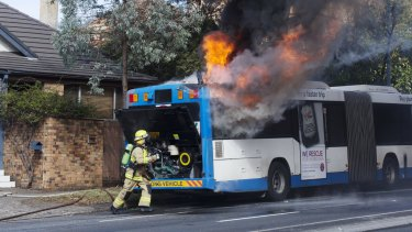 Significant delays: The L90 bus travelling south-bound caught alight on Military Road in Mosman.