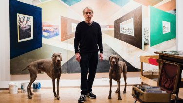 William Wegman with Flo and Topper in his New York studio.