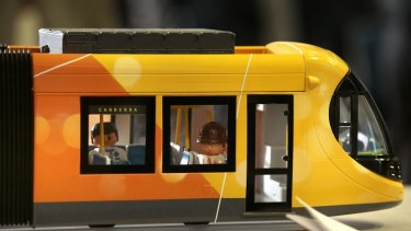 A model of Canberra's Spanish-made light-rail cars.