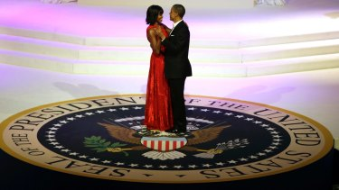 President Barack Obama and first lady Michelle Obama share a dance at their second Inaugural ball in January 2013.