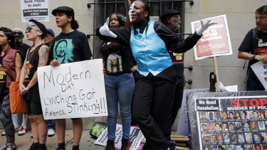 Protesters outside a courthouse after Officer Caesar Goodson was acquitted of Freddie Gray's murder.