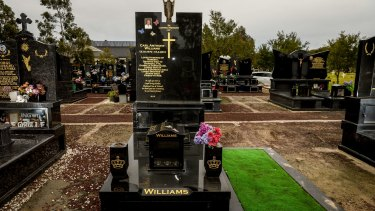 Carl Williams' elaborate, polished granite grave at Keilor Cemetery.