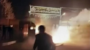 Six rioters were killed during an attack on the police station, according to Iranian state TV.