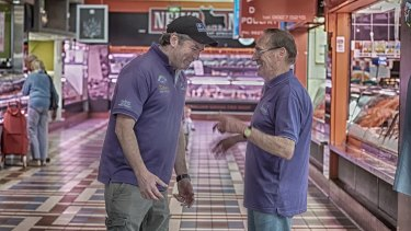 Choice words: Mark and Kevin Grocock from Kevin's Poultry at Prahran Market, who speak to eachother in code.