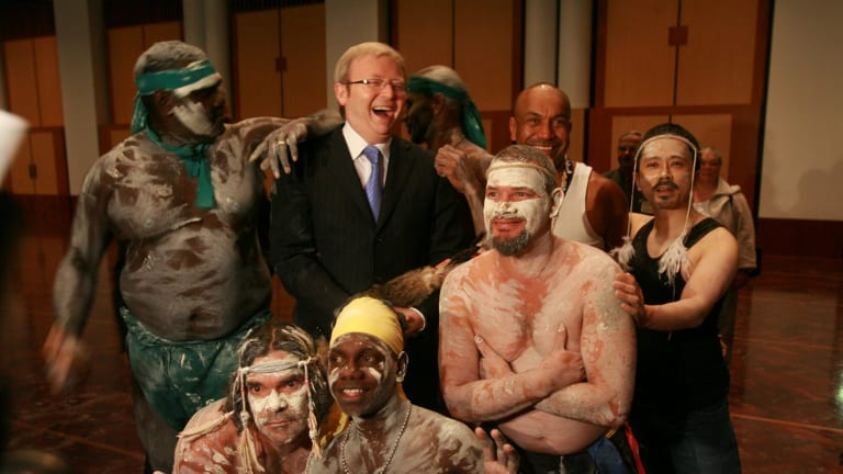 Then prime minister Kevin Rudd with performers at the Welcome to Country ceremony that began the opening of the 42nd Parliament in 2008.