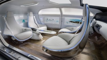 The interior of the Mercedes F 015, a driverless model.