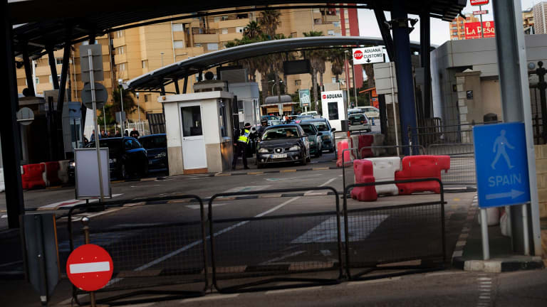 The border crossing between Spain and Gibraltar, the British overseas territory  that Spain covets.