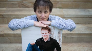 Colleen Vassallo with a picture of her late son Philip who died in a car accident while driving an old car.