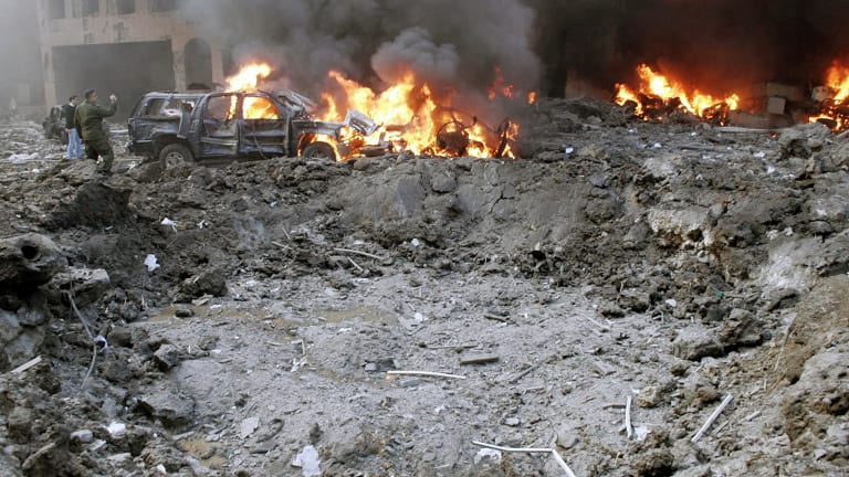 February 14, 2005: the crater formed after a car bomb destroyed the motorcade of  Rafiq al-Hariri.