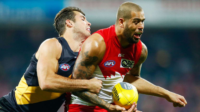 Big guns: Rance gets the job on the best forwards, including Lance Franklin.