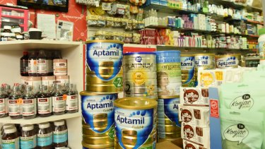 It is now estimated that about half of all the infant formula sold at Australian groceries ends up in China.