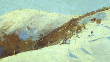 The Mailman to Omeo, Tom Roberts, oil on cigar box lid,1889.