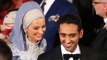 Waleed Aly and Susan Carland arrive at the Logies. Aly paid tribute to his wife in his Gold Logie acceptance speech.