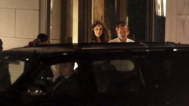 Former prime minister Tony Abbott and Ms Credlin pictured in New York in 2014.