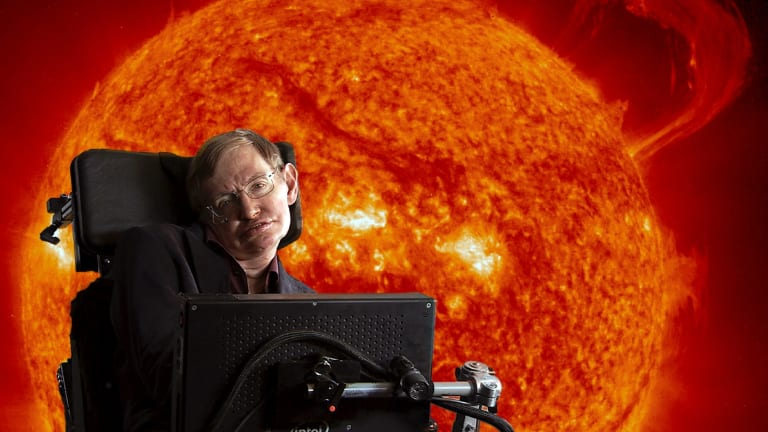 Stephen Hawking in front of the sun with coronal mass ejections.