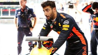 Not happy: Daniel Ricciardo had his Hungarian Grand Prix cut short by teammate Max Verstappen.