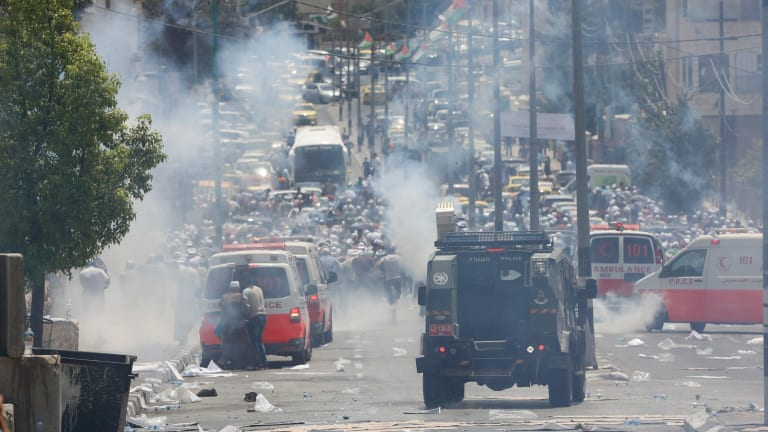 The scene in the occupied West Bank city of Bethlehem on Friday as Israeli police closed with Palestinians.