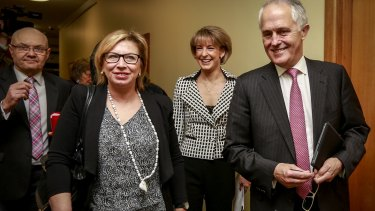 Rosie Batty with Prime Minister Malcolm Turnbull, Minister for Women Michaelia Cash and former police commissioner Ken Lay (left).