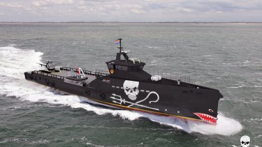 An impression of Sea Shepherd's new Southern Ocean patrol ship, designed by Dutch ship builder Damen.