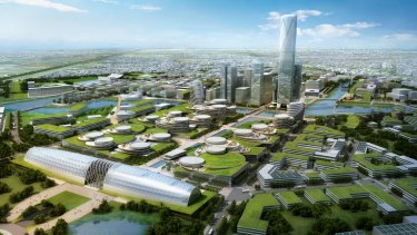 An imagined aerial view of the mini-city proposed for East Werribee.