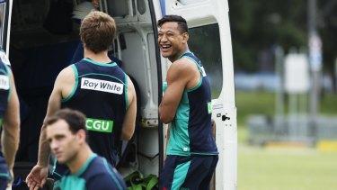 Happy days: Israel Folau at training on Thursday.