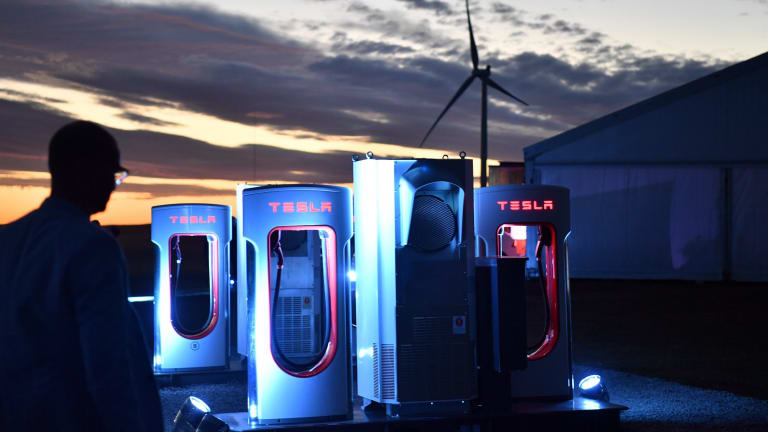 A Tesla car charging station at the wind and solar battery plant outside Jamestown in South Australia.