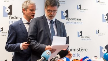 Spokesman for the Belgian Federal Prosecutors Office Thierry Werts, left, and Belgian Federal Prosecutor Eric Van Der Sypt  prepare to speak to media in Brussels on Wednesday.