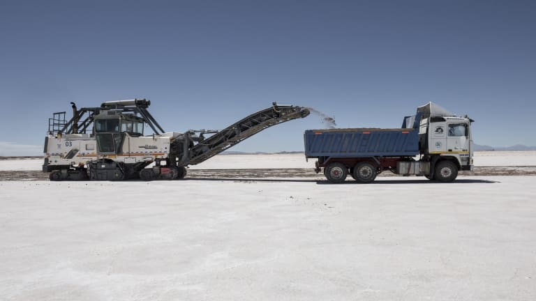 A lithium mine in Uyuni Salt Flats, Bolivia. Bolivia has the largest lithium deposits of any country, which are estimated to be about half of the world's supply.