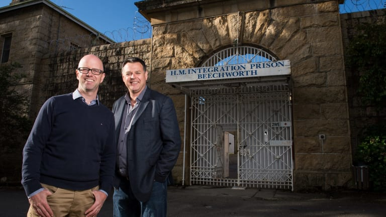 Clayton Neil and Matt Pfahlert, the driving forces behind the local consortium that has just bought the old Beechworth Gaol.