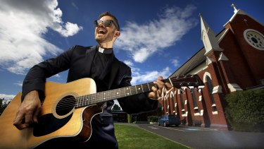 Father Rob Galea outside his church in Shepparton.