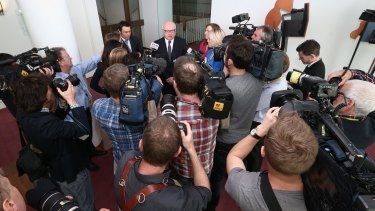 Attorney-General Senator George Brandis addresses the media at Parliament House on Thursday.