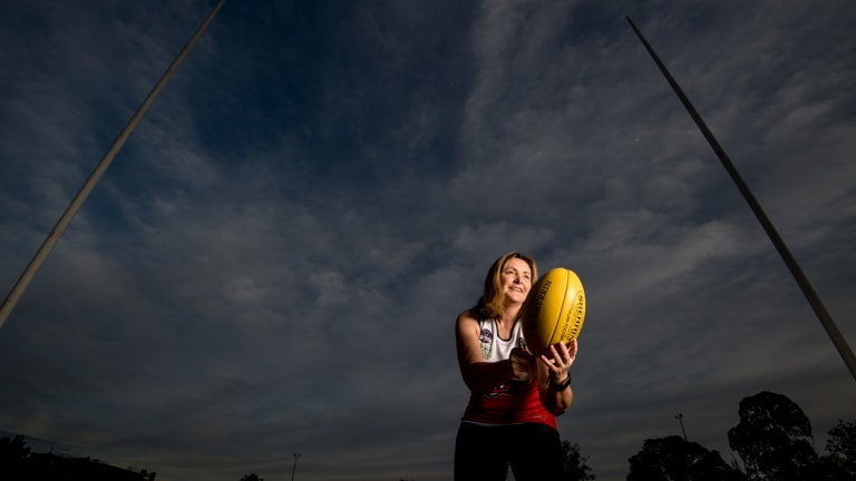 Marilynn Ross has got back into playing footy ... at 53.