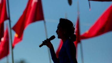 Aung San Suu Kyi speaks during a campaign rally for her National League for Democracy party in Thandwe, Myanmar, in 2015.