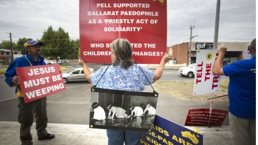 Protesters outside Ballarat Magistrate's Court before the Royal Commission into Institutional Responses to Child Sexual Abuse this week.