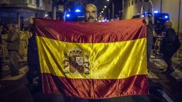 An anti-separatist demonstrator in Sant Boi de Llobregat, Spain.